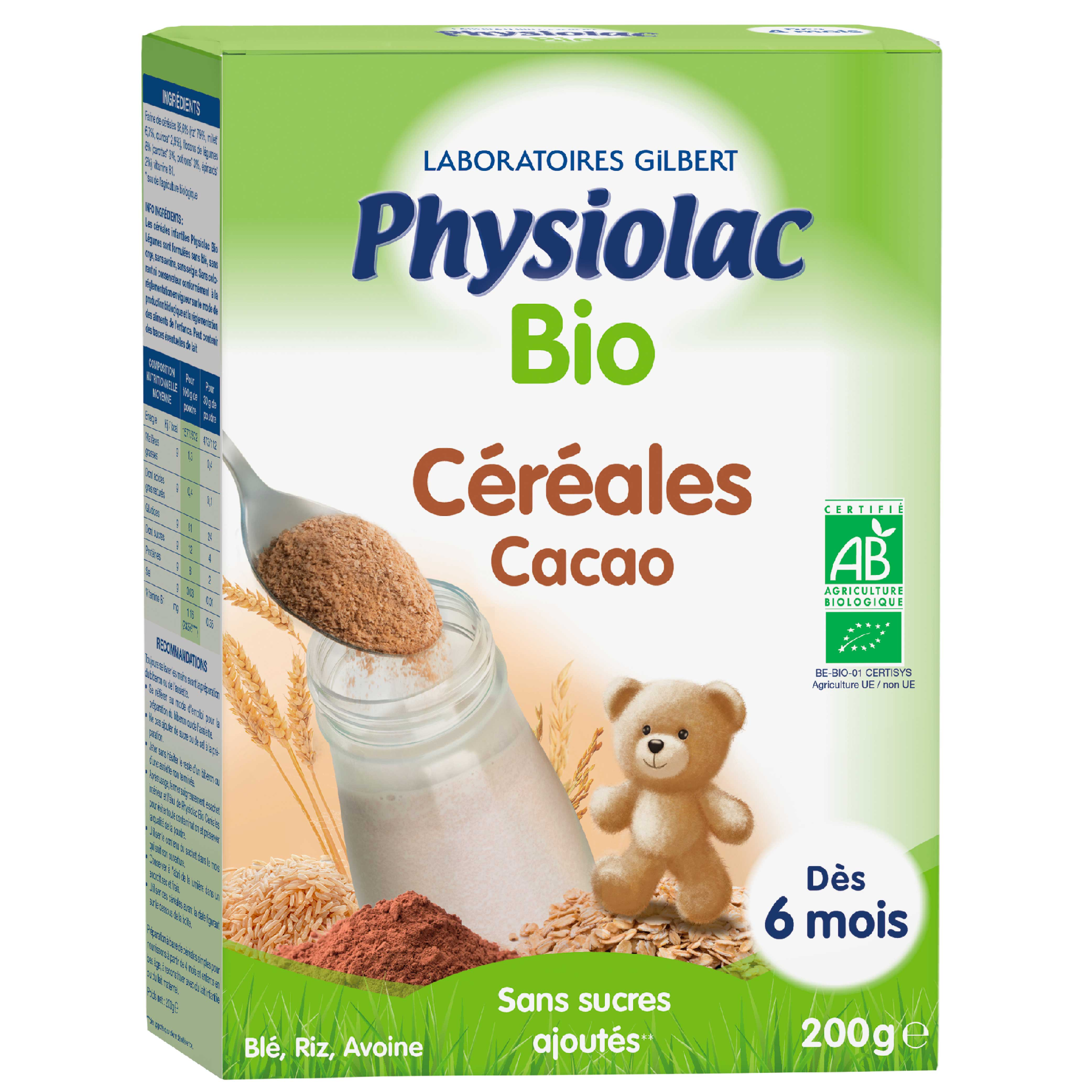 Organic Cacao Cereals For Baby Bottles: 6 Months